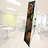 New & Premium X-Frame Banner Stand Adjustable Sizing from 24'x63' to 31 ½'x71' (2 in 1) with Carrying Bag