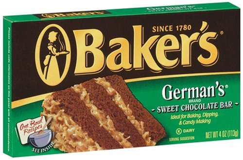 Baker's German's Chocolate, 4-Ounce Bars (Pack of 4)