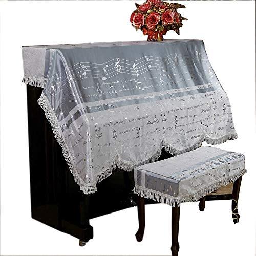 Yaunli pianodeksel dik versierd musical patroon piano afdekking weefsel voor standaard verticale piano kunst instelbaar pianodeksel