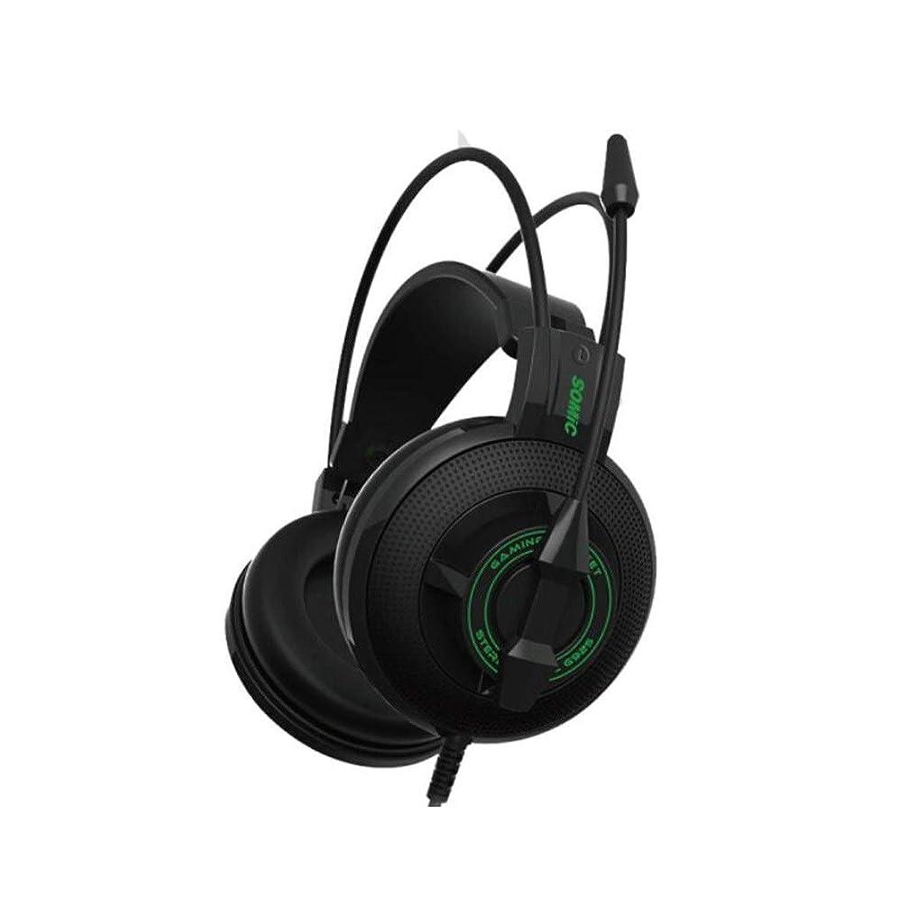 トースト拡張驚TUOFL ファッショナブルなヘッドフォン、ラップトップゲーミングヘッドセット、ヘッドマウント型の競争力のある食べるチキンヘッドフォン、グレー (Color : Black green)