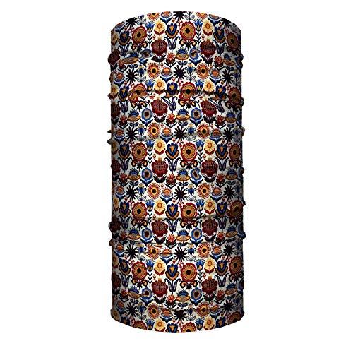 Mascarilla tubular para cuello y cuello con diseño de flores folk para motociclistas, bandana deportiva de 45,7 x 22,8 cm, juego de 2 unidades.