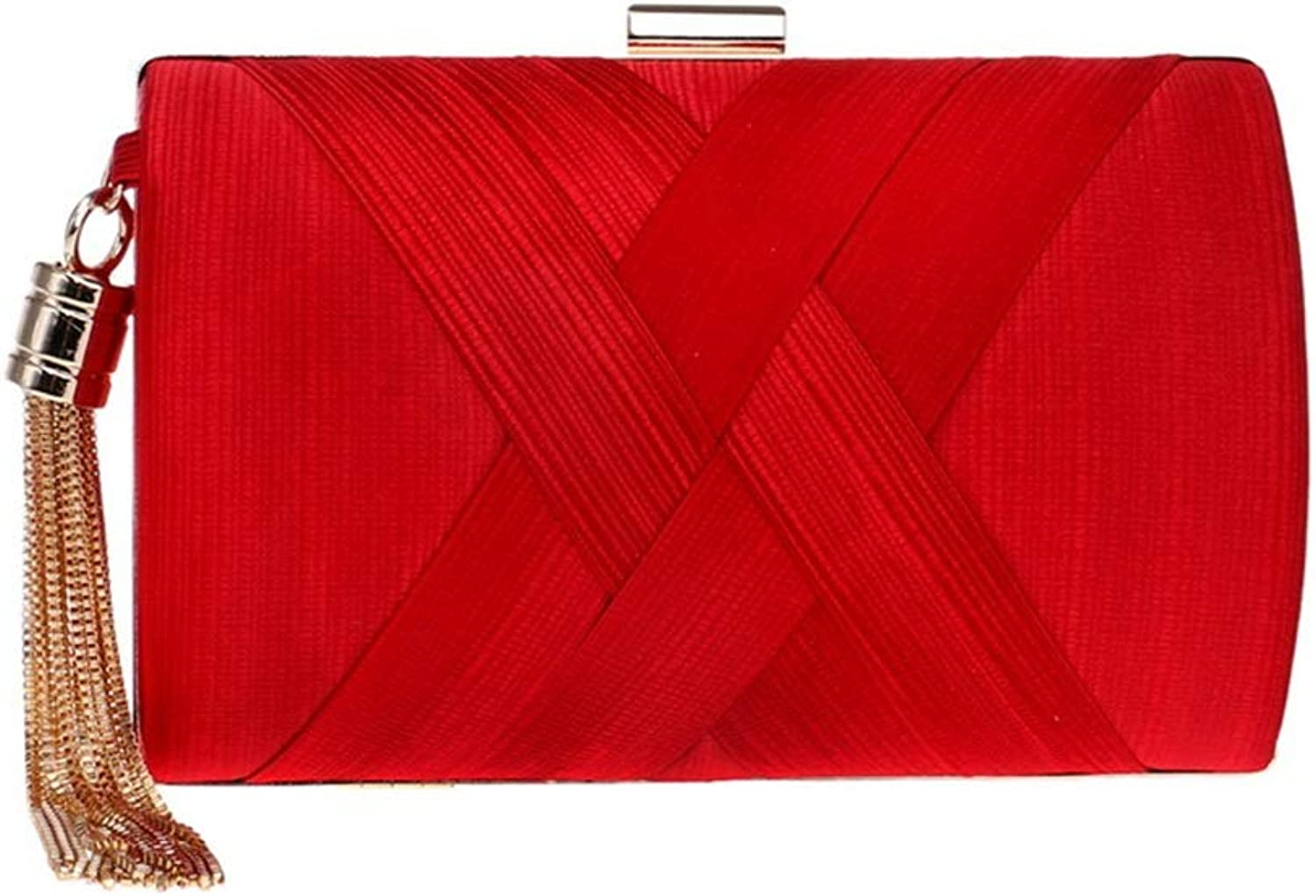 Sturdy Fashian Silk Party Evening Handbag Dress Clutch Handbag Evening Handbag Wedding Handbag Large Capacity (color   Red)