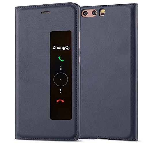 GOGODOG Huawei P10 Funda Inteligente Ventana Ver Ultra Delgado Dar la Vuelta Auto Dormir/Despertar Multi-función Protector Cubrir para P10 (5.1 Pulgadas) (Azul)