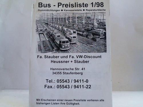 Bus-Preisliste 1/98. Gummidichtungen, Karosserieteile, Reparaturbleche