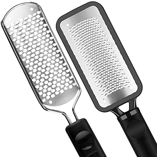 Pedicure Foot File - 2Pcs Stainless Steel Colossal foot Rasp, Dead Skin Remover for Feet, Professional Pedicure Tools Washable and Reusable