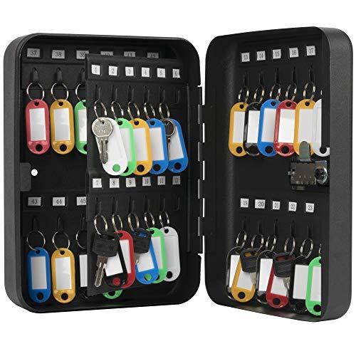 KYODOLED Key Cabinet Wall Mount,Locking Key Organizer,Key Storage Lock Box with Code,Key Management with Combination Lock,48 Key Hooks & Tags Key...