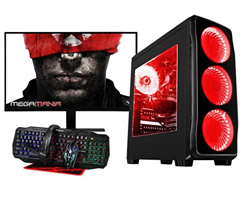 Megamania PC Gaming AMD Ryzen 7 2700X (8 Núcleos up to 4,3Ghz) | 16GB DDR4 | SSD 480GB + 1TB HDD Esclavo | Radeon RX570 8GB | WiFi + Monitor LED 24' + Kit Gaming