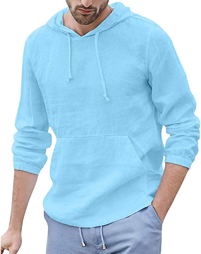XXBR Cotton Linen Hoodies for Mens, Fall Long Sleeve Hooded Shirts Lightweight Loose Casual Pullover Tops with Pocket