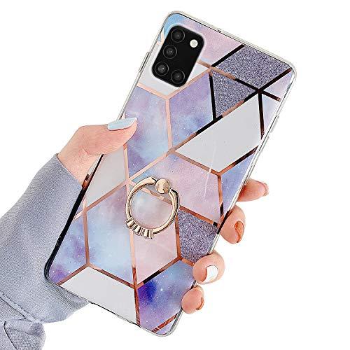 Herbests Kompatibel mit Samsung Galaxy A31 Hülle Bunt Marmor Muster TPU Silikon Handyhülle Glänzend Bling Glitzer Diamant Strass Ring Halter Ständer Crystal Case Tasche Schutzhülle,Lila