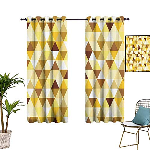 Geometric Decor Collection besthomefashionthermalinsulatedblackoutcurtains Gold Triangle Pattern Happy Brightening Autumn Color Luxury Trendy Style Suitable forDarkening Noise Reducing Backtab