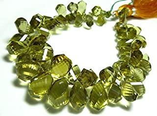 BEADS GEMSTONE 398carat AAA Beer Quartz Faceted Spiral Tear Drops- 9.50 Inch Long Strand -Stones measure- 22x10-8x5mm Code...