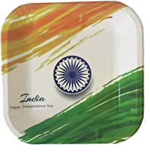 India Independence Day Disposable Plates 15 August- Patriotic Party Paper Plates Are Exclusive Design with Flag for Indian Celebration 9 Inches Eco-Friendly, Heavy Weight Dinner Square Plates 24 Pk