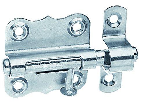 GAH-Alberts 327026 Grendelriegel mit Knopfgriff und ohne Feder, Edelstahl, Platte: 39 x 38 mm, Bolzen: Ø8 mm / 1 Stück