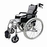 OLDHF Silla De Ruedas Autopropulsable Plegable, Portable Silla De Ruedas De Aluminio Ligero con Hand Brakes, para Ancianos, Discapacitados,Gris