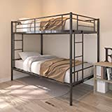 Twin Over Twin Metal Bunk Beds,Heavy Duty Steel Bed Frame with Safety Rail and 2 Ladders for Boys Girls Adults Dormitory Bedroom ,No Box Spring Needed,Black