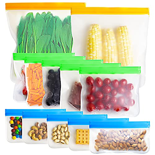Reusable Food Storage Bags - 12 Count BPA Free Reusable Freezer Bags (2 Gallon & 5 Sandwich & 5 Snack Size Bags) Tangibay Leakproof Freezer Safe Bag for Meat Fruit Vegetable