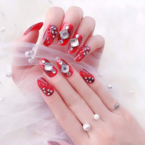 rpbll 24pcs/box back self-Adhesive 3D Rhinestone Finished False Nails Red Bride nail crystals Manicure Nails Tips Wedding Fake Nail As show