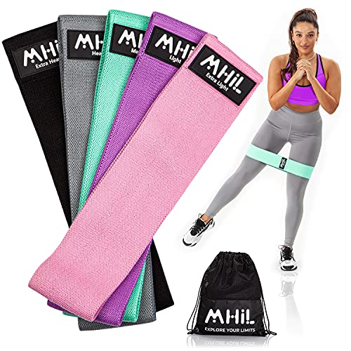 MhIL 5 Resistance Bands - Best Exercise Bands for Women and Men - Thick Elastic Fabric Workout Bands for Working Out Legs, Butt, Glute- Stretch Fitness Booty Loops Bands for Gym, Weights & Squats