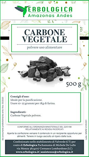 Carbone vegetale polvere 500 grammi per uso alimentare, con carbone attivo per sgonfiare pancia e stomaco, Puro al 100% senza glutine e lattosio - Erbologica Amazonas Andes
