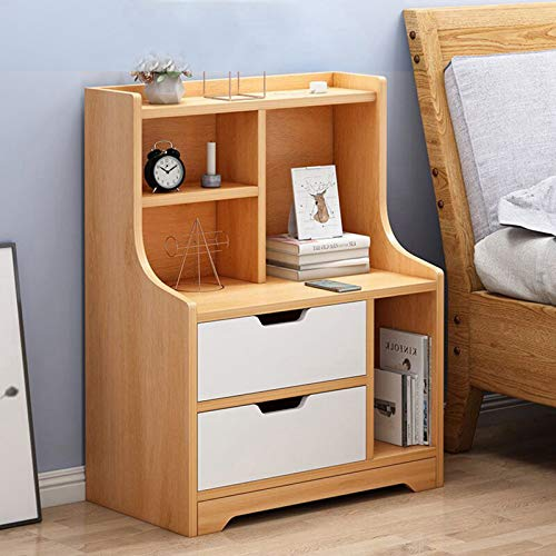 Nightstand White Night Stand,BIEHOL Computer Desk with Storage Shelves,Nordic Simple Bedside Table Bedroom Simple Storage Desk Student Study Table with Bookshelf Home Office Workstation (Yellow)