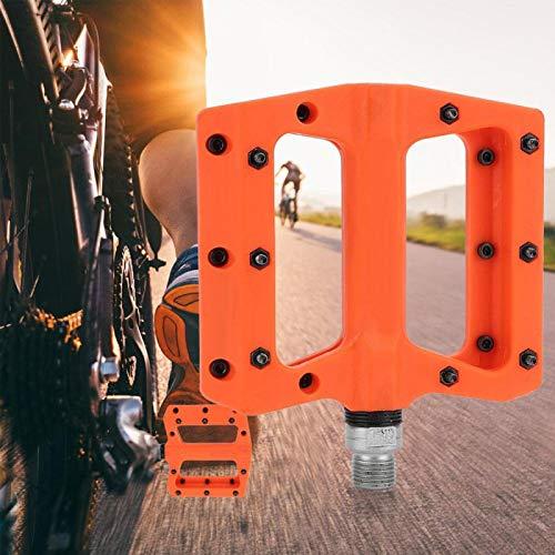 DAUERHAFT 1 par de Pedales de cojinete de Bicicleta antichoque y Resistencia a la corrosión diseño de ampliación de plástico de Nailon, para Bicicleta de montaña MTB BMX(Orange)