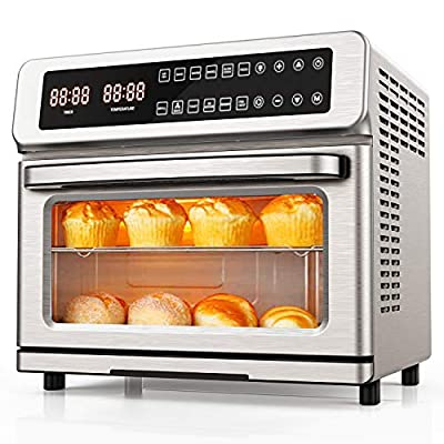 11-in-1 Air Fryer Toaster Oven,Iconites 20L Convection Smart Oven Dehydrator with/Digital LED Display(Brushed Stainless Steel)