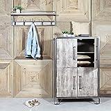MadeinMeuble IF671 - Aparador, alto, estilo industrial, madera y metal, 4 puertas