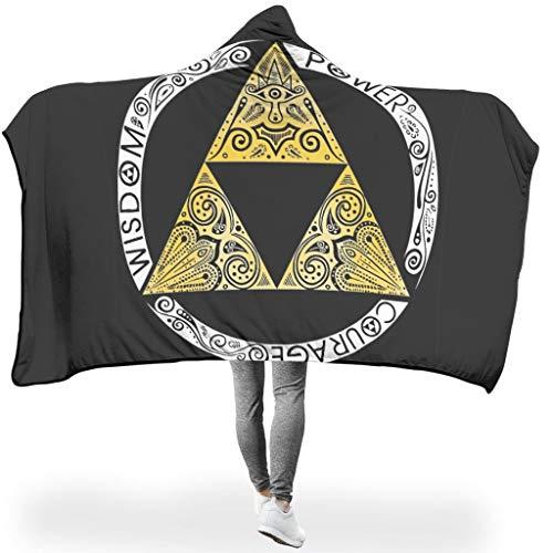 Ainiteey Golden-Zelda-logo, ademend, verschillende patronen, capuchondeken, voel je zacht voor bed in koude omgeving, warme stijl, driehoek en cirkel, zwart