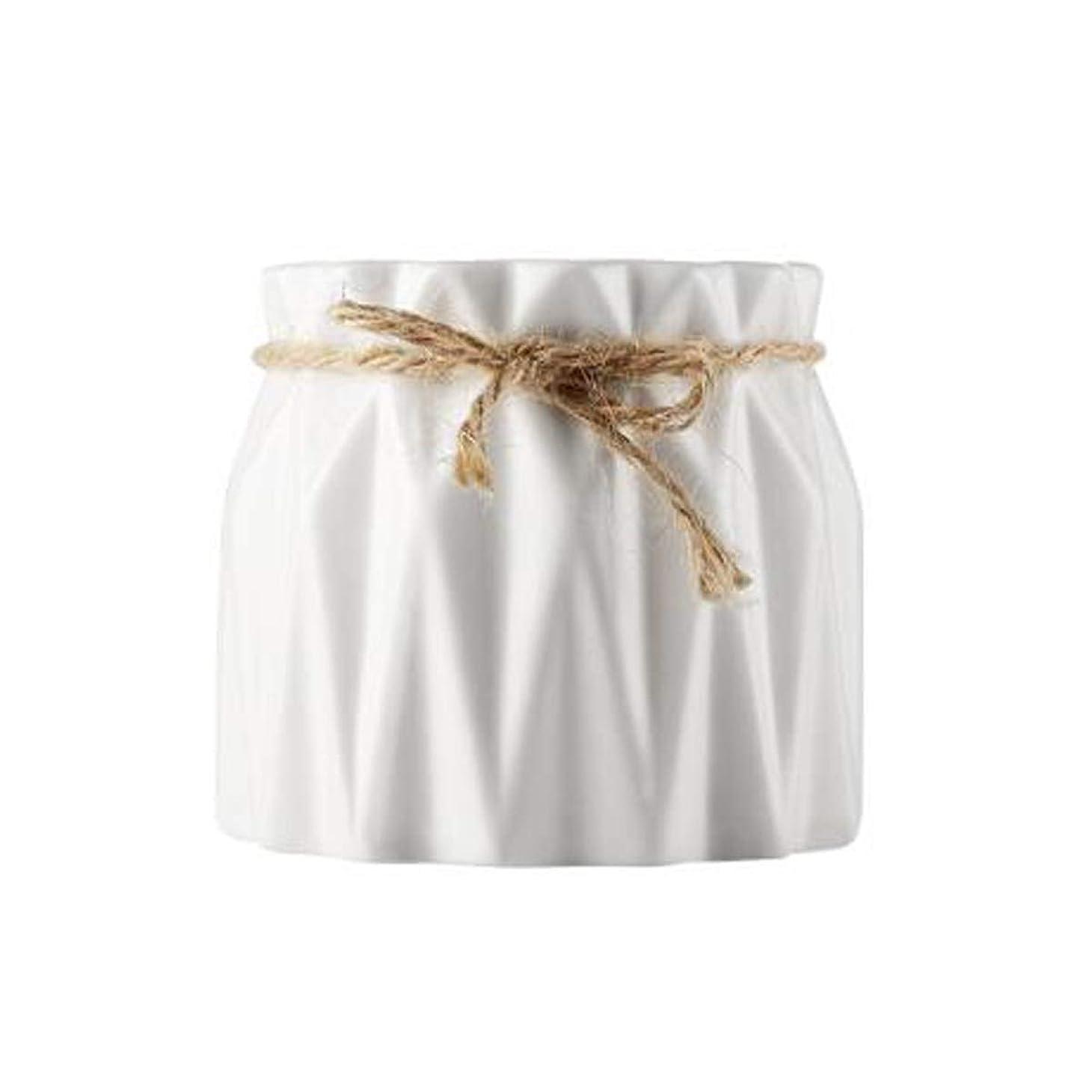 狐クリケットヒップSLY 花瓶、セラミック花瓶、シンプルパストラルアート、現代のホームデコレーション、花、繊細なラウンド口へ (Color : White)