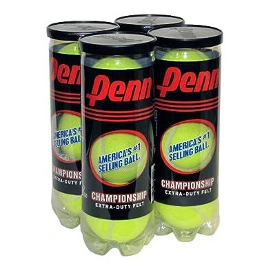 Penn Championship Extra Duty Tennis Balls, 4 Can Pack, 12 Balls