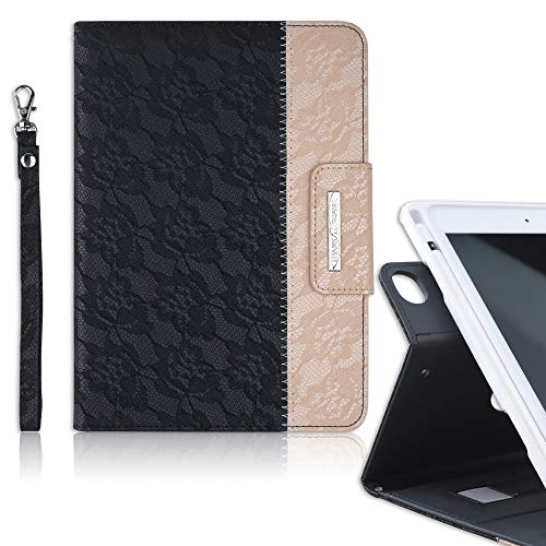 Thankscase Compatible for iPad Mini 5 / Mini 4, Soft TPU case Build-in Pencil Slot, Rotating Leather Smart Case with Wallet, Hand Strap for iPad Mini 5th / 4th Gen 7.9 inch. (Lace Black Gold)