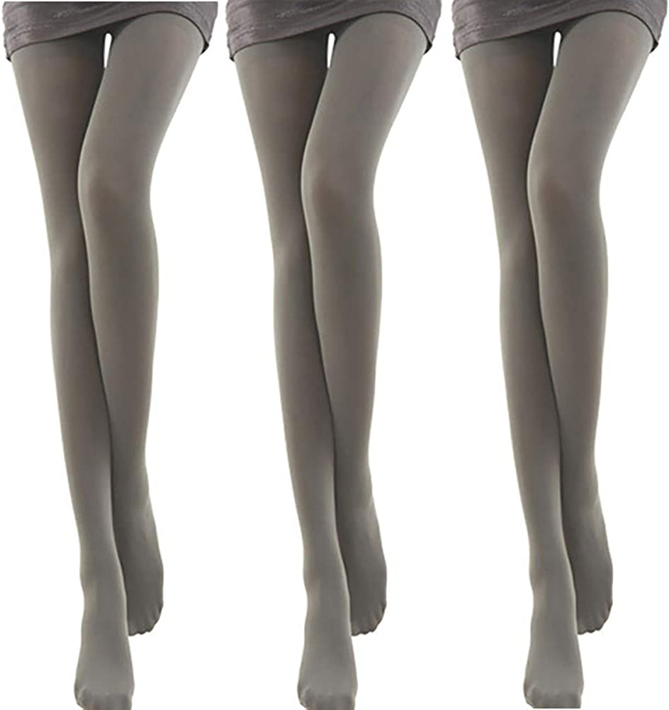 Women's Footed Tights 3 PK Opaque 120D Solid Color Soft Pantyhose Tights