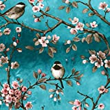 Mambo-Design Wachstuch Vogel Türkis · Eckig 140x100 cm · Länge wählbar· abwaschbare Tischdecke 0219