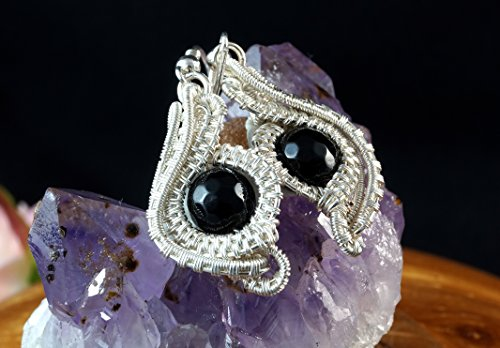 Evil Eye / Silver-plated copper wire earrings with Onyx / ( Nicole Hanna designed ) / wire wrapped / handmade