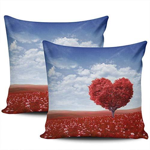 CDMT-XU1 Decoración del hogar, cojín, día de San Valentín, corazón, Rojo, árbol, Fundas de Almohada, 18x18 Pulgadas, Juego de 2