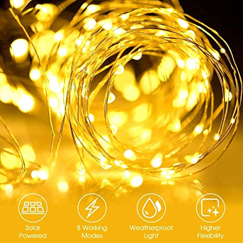Solar String Lights Outdoor, 2 Pack 100LED 10M / 33Ft 8 Modes Solar Fairy Lights Waterproof Outdoor/Indoor Garden Lights Copper Wire Lighting for Wedding, Patio, Yard, Festoon, Christmas (Warm White)