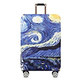 TRAVEL KIN Thickened Luggage Cover 18/24/28/32 Inch High Elastic Travel Suitcase Spandex Protective Cover (M(22'-24'luggage), Starry Night)