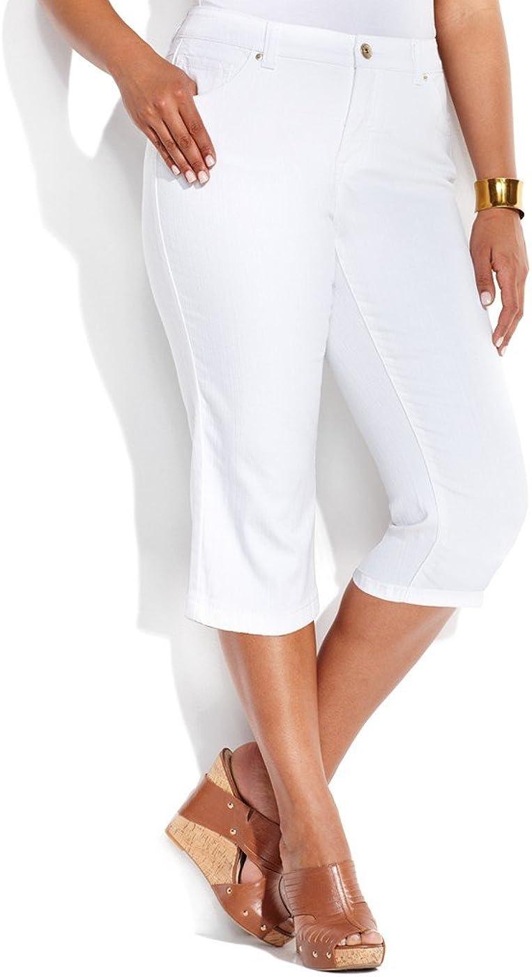 INC International Concepts Women's Slim Tech Fit Denim Fabric Crop Jeans