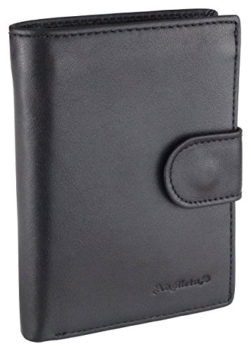 Mens Wallet Soft Genuine Leather Trifold Wallet for Men Card Holder Coin Purse gift Box Black 2