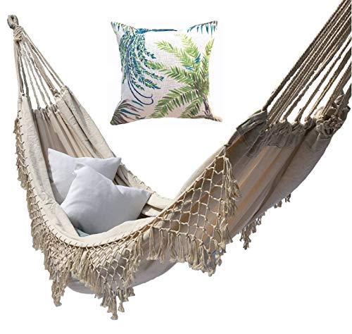 Marfil blanco lona hamaca brasileña doble extra-grandes borlas exterior jardín interior camping portátil crema natural