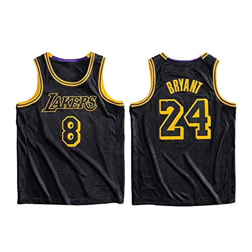No. 24 and No. 8 Retired Version Basketball Jerseys,Men's Basketball Uniform,Youth Active Sportswear Breathable Mesh Vest (S-2XL)-8# and 24# blackB-XL