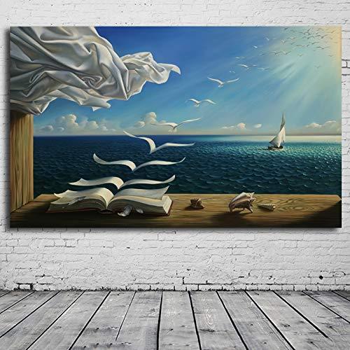 KWzEQ Imprimir en Lienzo Wave Book Sailing para Sala de Estar Cuadros Decorativos y Carteles Arte de pared75x113cmPintura sin Marco