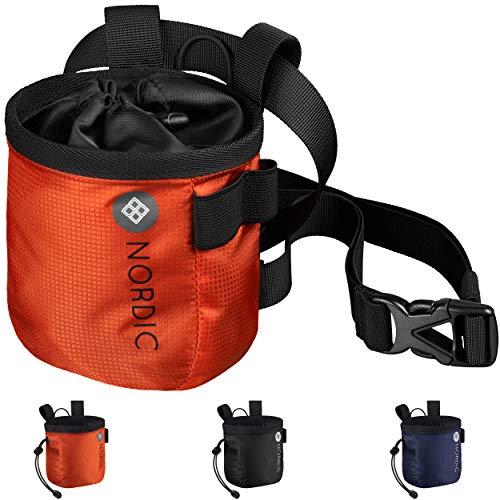 Nordic® Chalkbag (rot) z. Klettern & Bouldern - ultraleichter Magnesiabeutel - Chalk Bag Hüftgurt abnehmbar - hochwertiger Magnesiumbeutel für jedes Wetter - staubdichter Kreidebeutel