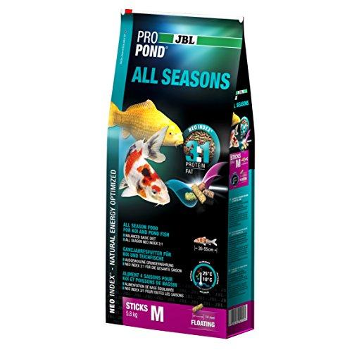 JBL Ganzjahresfutter für Koi, Schwimmende Futtersticks, Saisonfutter, ProPond All Seasons, Größe M, 5,8 kg