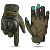 YOSUNPING Motorcycle Touchscreen Full Finger Gloves Protection for Tactical Military Army Airsoft Paintball Motorbike Cycling ATV Bike Riding Racing Camping Hiking Hunting Outdoor Work Gloves Green M