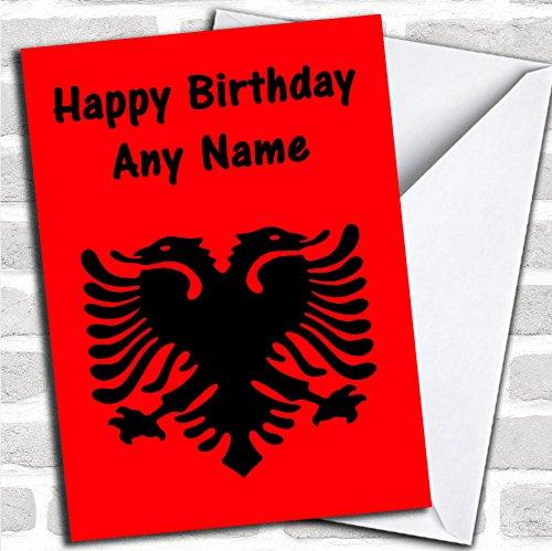 Albanese vlag Albanië verjaardagskaart met envelop, kan volledig worden gepersonaliseerd, snel en gratis verzonden