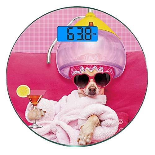 Digitale Präzisionswaage für das Körpergewicht Runde Lustig Ultra dünne ausgeglichenes Glas-Badezimmerwaage-genaue Gewichts-Maße,Chihuahua-Hund, der im Wellness-Badekurort-Mode-Welpen-Comic-Druck deko