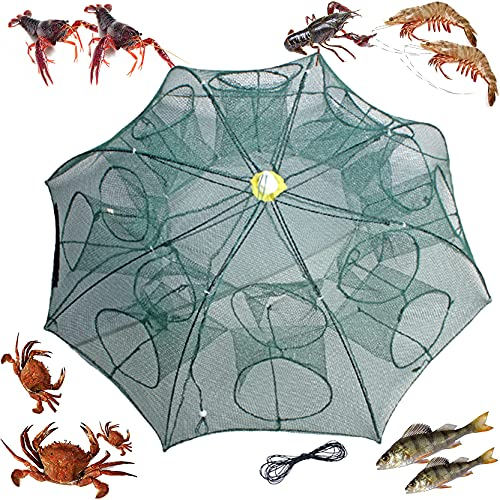mlnyitus 2 pcs Foldable Fishing Bait Trap, 16 Holes Fish Trap for Outdoor catching Small Bait Fish net Crab Crawfish Automatic, eels Crab Lobster Minnows Shrimp