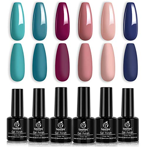 Beetles Gel Nail Polish Set, Dusty Bouquet Collection Classic Blue Pink Mavue Nail Gel Polish Perfect for Autumn and Winter Nail Art Manicure Kit Soak Off LED Gel, 7.3ml Each Bottle