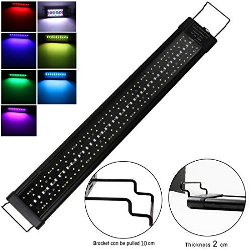 Iluminación para Acuarios 90cm 54W 4320lm Pantalla LED Acuario, lámpara de Acuario con Temporizador y soporte Ajustable Adecuado para Acuarios de 90-110cm luz de acuario RGB para Plantas Marinas Peces